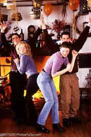 Dancing teenagers; Actual size=180 pixels wide